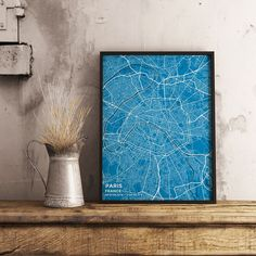 Premium Map Poster of Paris France - Subtle Blue Contrast - Unframed