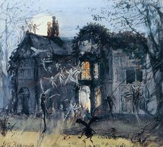 "John Anster Fitzgerald (1832-1906), ""The Old Hall, Fairies by Moonlight; Spectres & Shades, Brownies and Banshees"", c.1875 