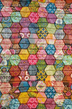 half hexagon quilt by batixa, via Flickr