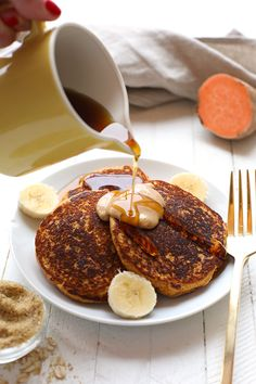 Start your morning out right with these Sweet Potato Power Pancakes! They're made with 100% oat flour and sweet potato puree and are packed with vitamin A and fiber so you'll feel energized all day long.