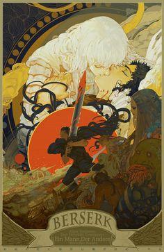 Berserk - Griffith, Guts, and Kjaskar by Hunsay * Curated by Edric Artist! Art Inspo, Kunst Inspo, Art And Illustration, Art Manga, Anime Art, Fantasy Kunst, Fantasy Art, Dark Fantasy, Corpse Party