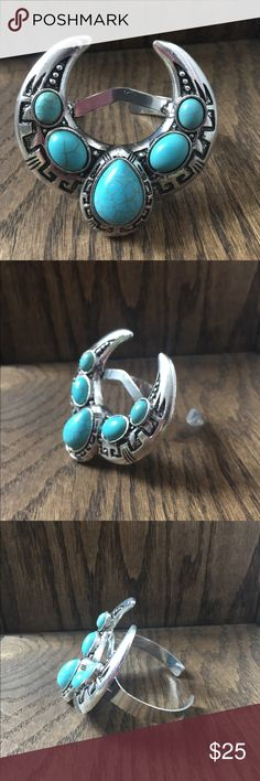 Bohemian turquoise crescent bracelet🌈 NEW silver alloy bohemian crescent cuff bracelet with faux turquoise stones.🌈 This measures 3 inches wide by 2 1/2 in tall. Beautiful statement piece. Check out my other listings for more bohemian items for women children and infants. Bundle and save on shipping, plus get an additional discount!🎉 Jewelry Bracelets
