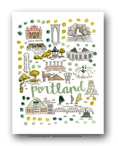 Portland Map Print  // Evelyn Henson // Collect your favorite cities at www.evelynhenson.com