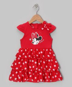 Take a look at this Red Polka Dot Minnie Tiered Dress - Toddler by Minnie Mouse on #zulily today!