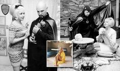 During the 1960s, actress Jayne Mansfield met Satanist Anton LaVey. Their friendship was photographed by Walter Fischer. They are pictured at Mansfield's Pink Palace in Los Angeles.