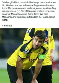 """I am so happy we are still alive.... They have to understand we are not animals but human beings."" Seeing Papa Sokratis in tears in front of Südtribüne leaves me speechless. They should not have played just some hours after the attack #ucl #bvbasm #sokratis #fckUEFA"