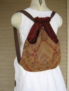 Tapestry Backpack Rust and Tan  Boho Backpack  Tapestry Backpacks  Sling Bags  School Bags  Book Bags