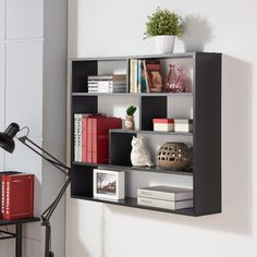 Exhibit a ultra-modern look to your room decor by adding this Black Laminated Rectangular Floating Wall Shelf from DANYA B. Wall Shelf Decor, Wall Mounted Shelves, Display Shelves, Shelving, Unique Shelves, Rustic Floating Shelves, Wardrobe Furniture, Home Decor Furniture, Online Furniture