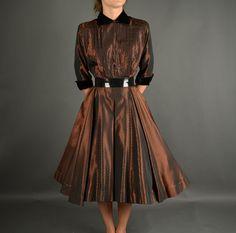 1940s dress 40s dress full skirt copper by NodtoModvintage   Fab Vintage Dress
