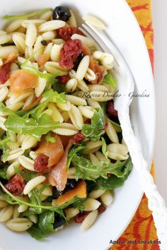 Cold Pasta Salad With Smoked Salmon, Sun-Dried Tomatoes and Olives.