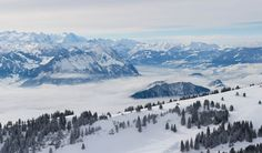 Snow filled meadow in the Swiss Alps