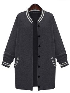 Black Striped Buttons Long Coat , 40% Off 1st Order
