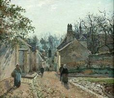 """Rue de Voisin, Louveciennes"" (1871) By Camille Pissarro (French, 1840-1926) oil on canvas; 46 x 56.5 cm Place of creation: Louveciennes, about 25 km from the center of Paris"