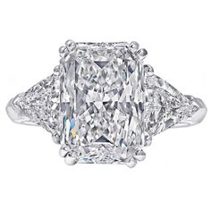 5.08 Carat Radiant-Cut Three Stone Engagement Ring | 1stdibs.com
