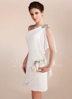 Sheath column one shoulder short mini chiffon wedding dress with beading cascading ruffles 002011748 24 bridal gowns with sleeves never fails to impress Beach Style Wedding Dresses, Wedding Dress Chiffon, Wedding Party Dresses, Bridesmaid Dresses, Elegant Dresses, Cute Dresses, Beautiful Dresses, Short Dresses, Mode Outfits