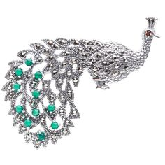 Blue Box Jewels Sterling Silver Marcasite Green Peacock Brooch Pendant - Overstock™ Shopping - Big Discounts on Blue Box Jewels Brooches & Pins