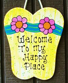 FLIP FLOPS Welcome To My Happy Place Sign Tiki Bar Pool Hot Tub Beach Plaque #Unbranded #Tropical