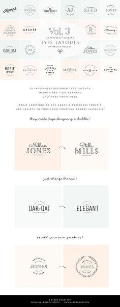 Type Layouts Vol. 3 Text Based Logos by Maggie Molloy on @creativemarket