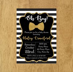 little man baby shower invitation black and gold baby invitation oh boy baby shower black white stripesbow tie baby shower invitation by munchdoodles on