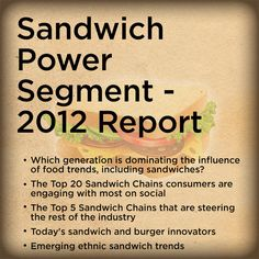 Sandwich Power Segment 2012 Report Industry Research, Social Trends, Food Trends, Sandwiches, Social Media, Social Networks, Paninis, Social Media Tips