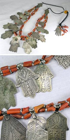 Faouzi Creations ~ 23 Khamsa pendants, that have taken years to gather, combined with high grade coral Antique Jewellery Designs, Antique Jewelry, Jewelry Design, Hippie Jewelry, Tribal Jewelry, Western Jewelry, Yoga Jewelry, Hamsa Design, Moroccan Jewelry