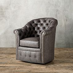 "Burton 33"" Leather Tufted Swivel Chair in Saloon Grey"