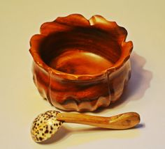 Monkey Pod Wood Bowl Wood Bowl With Shell Spoon by Collectitorium