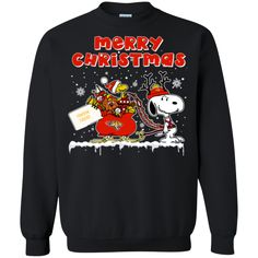 Towson Tigers Ugly Christmas Sweaters Merry Christmas Snoopy With Sleigh Hoodies Sweatshirts