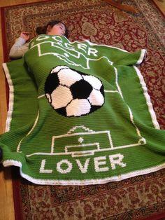 Crochet soccer blanket