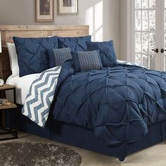 Avondale Manor Ella Pinch Pleat 7-pc. Comforter Set  Master Navy also at Khol's