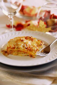 Lasagne con zucca e salsiccia cremose e saporite - Rosso Fragola