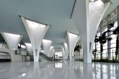View the full picture gallery of Taiwan High Speed Rail Changhua Station Shopping Mall Interior, Airport Design, Mall Design, Column Design, Roof Structure, Interior Photography, Facade Architecture, Office Interior Design, Ceiling Design