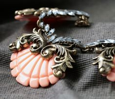 Vintage Alloy Necklace With Nice Shell Pendant In Light Coral Color $19.98