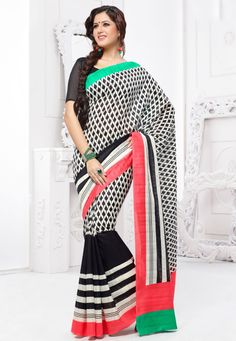 Revamp your summer closet with these colorful and lovely Georgette Saree ! Off White And Black #Georgette Saree designed with Printed. And as shown Black #Georgette Blouse fabric is available which can be customize as per requirements.   With exciting Flat 30% discount! INR :-1250