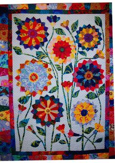 Big Blooms - colorful pieced  applique quilt  pattern - Flying Fish Kits. $21.50, via Etsy.
