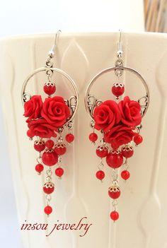 Pendientes rojo pendientes de Coral joyería roja rojo