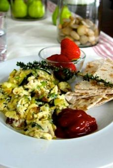 The Best Turkey Zucchini Scrambled Eggs Recipe you've ever had!.. With a side of fresh herbs and crispy lavash