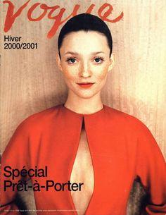 Audrey Marnay, Vogue Paris 2000, orange jumpsuit, orange lipstick, freckles