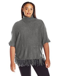NY Collection Women's Plus Size Dolman Slv Turle Neck Rounded Bttm Marled Pullover Withfringe Sweater