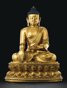 AN OUTSTANDING AND HIGHLY IMPORTANT MASSIVE GILT-BRONZE FIGURE OF A SEATED SHAKYAMUNI BUDDHA<br>MARK AND PERIOD OF YONGLE | Lot | Sotheby's