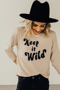 'Keep it Wild' Slouch Top Cute Shirts, Kids Shirts, T Shirts For Women, Chuck Taylors, Graphic Tee Style, Graphic Tees, Cute Shirt Designs, Tie Dye Outfits, Screen Printing Shirts