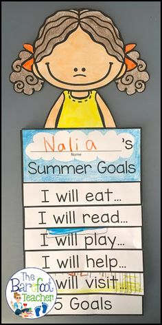 You just found the best End of the Year activities for your PreK Kindergarten or First grade students See The Barefoot Teachers Summer Goals Flip Book highlighted plus do. Summer School Activities, End Of Year Activities, First Grade Activities, Writing Activities, Space Activities, Kindergarten Writing, Kindergarten Activities, Literacy, First Grade Crafts