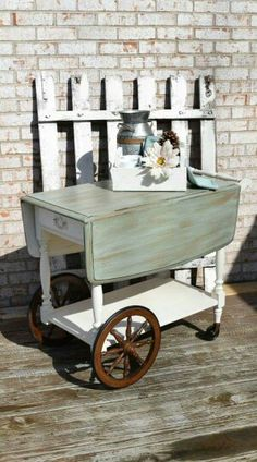 Refinished/Painted Tea Cart Annie Sloan Old White and Duck Egg with dry brush coco.Clear wax. Facebook.com/rustiquelegance