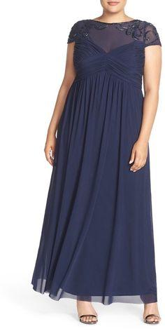 Marina Embellished Yoke Mesh Fit & Flare Gown