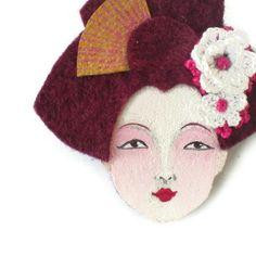 SALE  Japanese Geisha Felt Brooch Fabric Brooch Art by yalipaz