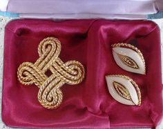 Jewelry Set, Trifari Signed Rope Swirl / White Enamel Clip Earrings & Gold Tone Brooch in Presentation Box