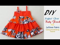 DIY Ruffled\Frill Baby Frock From Leftover Fabric Cutting And Stitching ...