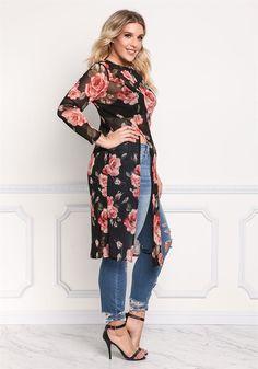 Plus Size Clothing | Molett Rose Mesh Nagy Hasított tetejére | Debshops