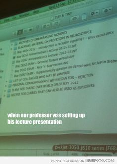 What does your prof have on their thumb drive? If I ever teach a class, I'm totally doing this...