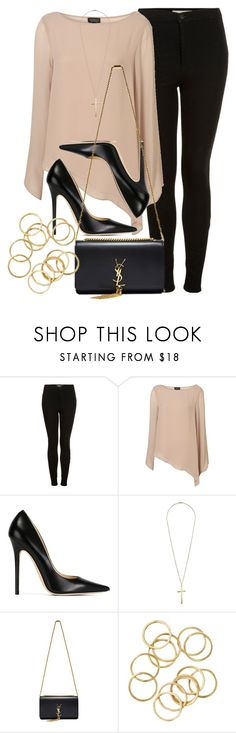 """""""Style #10482"""" by vany-alvarado ❤ liked on Polyvore featuring Topshop, Jimmy Choo and Yves Saint Laurent"""